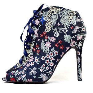 Open Toe Ebroidered Floral Stiletto High Sandals
